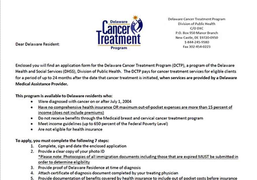 Delaware Cancer Treatment Program (DCTP) Application screenshot