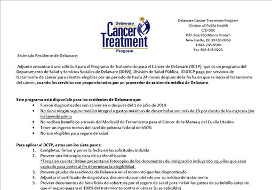 Delaware Cancer Treatment Program (DCTP) Aplicación in Spanish screenshot