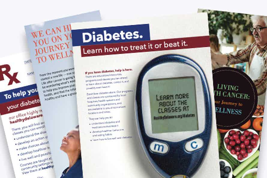 Picture of various free educational materials for healthy living.