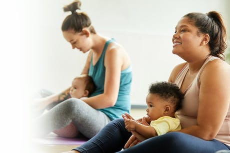 Women in an exercise class with their babies