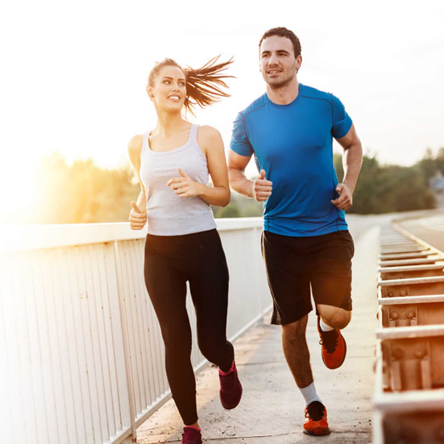 A couple running to stay hearth healthy